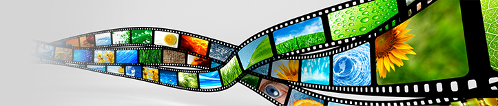 Banner of bright images on film.
